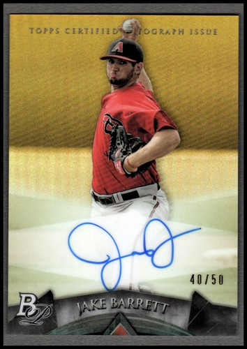 Photo of 2014 Bowman Platinum Prospect Autographs Gold Refractors #APJB Jake Barrett