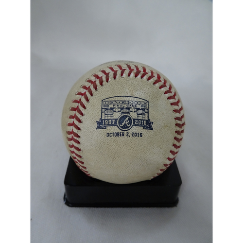 Photo of Game-Used Baseball Recorded as the FINAL HIT at Turner Field - Single hit by Miguel Cabrera