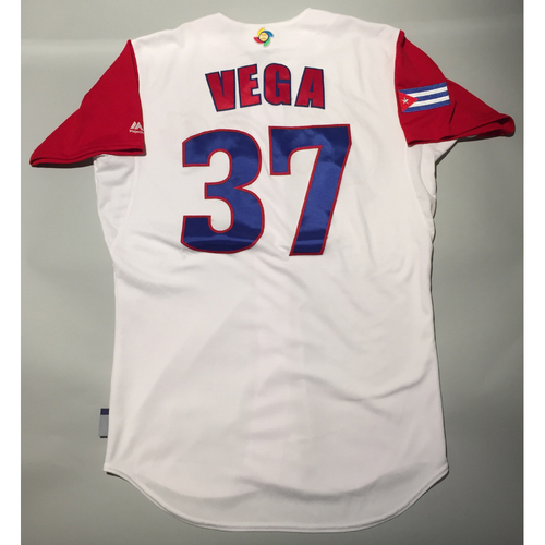 Photo of 2017 WBC: Cuba Game-Used Home Jersey, Vega #37