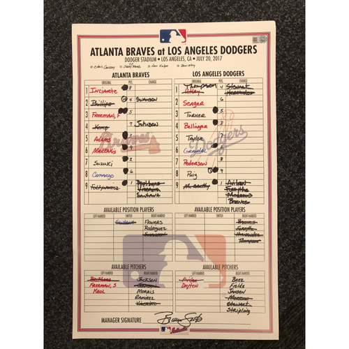 Photo of July 20, 2017 Game-Used Lineup Card - Braves at Dodgers