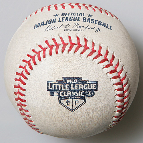 Photo of Game-Used Baseball from MLB Little League Classic - Andrew McCutchen Grounds Out, Shortstop Paul DeJong to First Baseman Matt Carpenter. Starling Marte Scores.