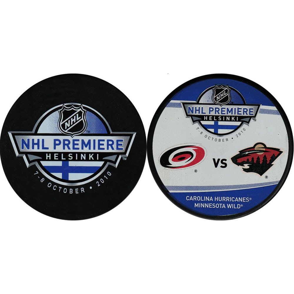 2010 NHL Premiere Series Helsinki Puck Lot (Carolina Hurricanes, Minnesota Wild)