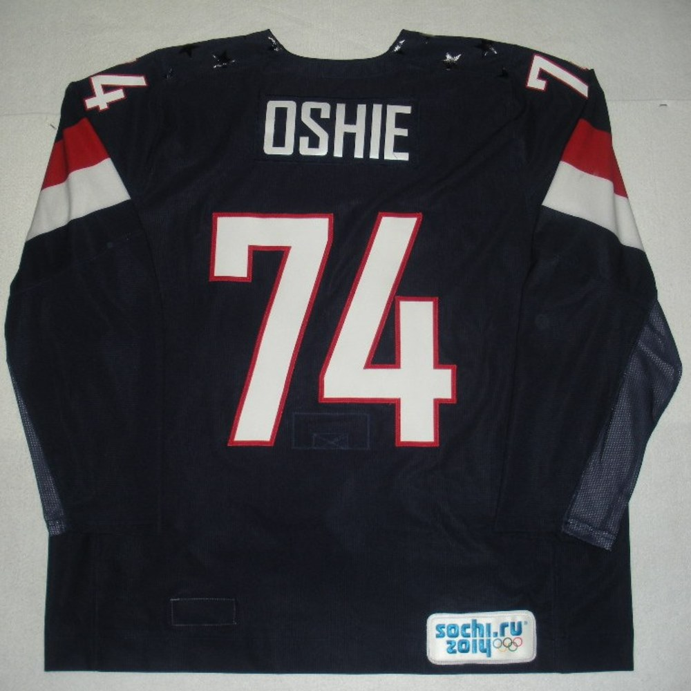 T.J. Oshie - Sochi 2014 - Winter Olympic Games - Team USA Blue Game-Worn Jersey - Worn in 2nd Period, 3rd Period, Overtime and Shootout vs. Russia, 2/15/14