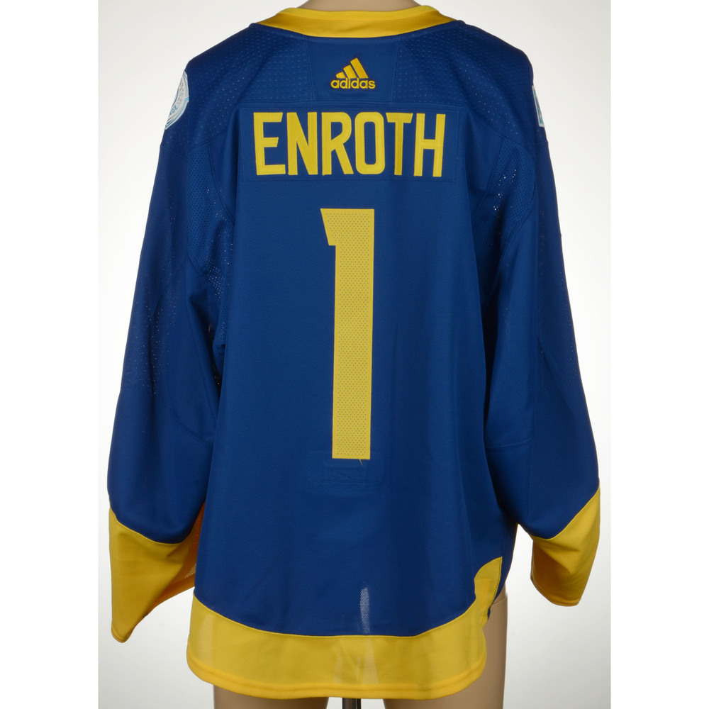Jhonas Enroth Anaheim Ducks Player-Issued 2016 World Cup of Hockey Team Sweden Jersey