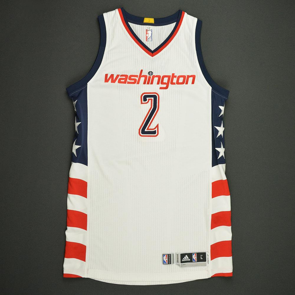 John Wall - Washington Wizards -White Playoffs Game-Worn 1st Half Only Jersey - 2016-17 Season