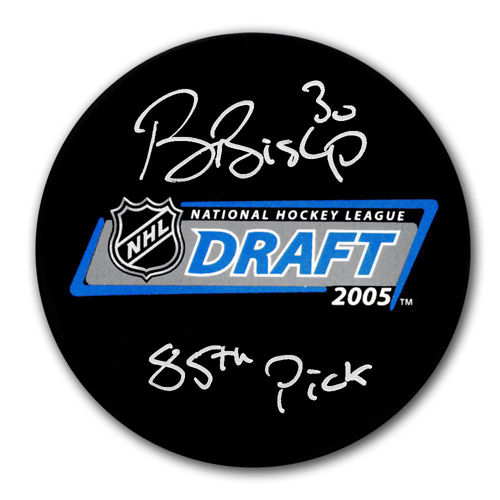 Ben Bishop 2005 NHL Draft Day 85th Pick Autographed Puck Tampa Bay Lightning