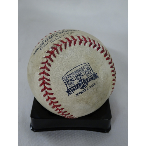 Photo of Game-Used Hit Baseball - Pitcher: Justin Verlander, Batter: Julio Teheran - Single - Final Game at Turner Field