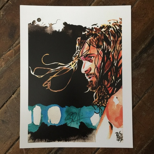 Photo of Seth Rollins SIGNED 11 x 14 Rob Schamberger Print
