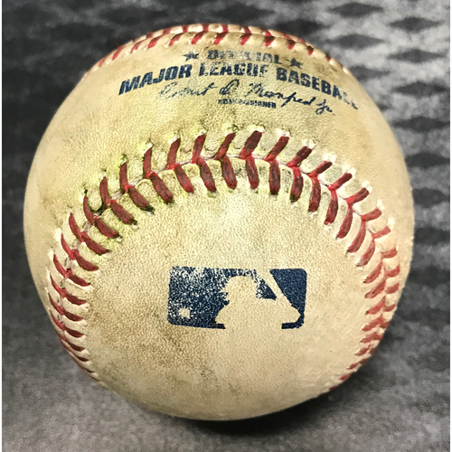 Photo of Game-Used Baseball - A.J. Pollock Double & David Peralta At Bat vs. Kenta Maeda