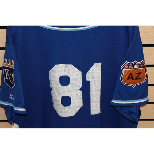 Photo of Game-Used Number 81 Spring Training Jersey (Size 46) (4/14/17 LAA @ KC)