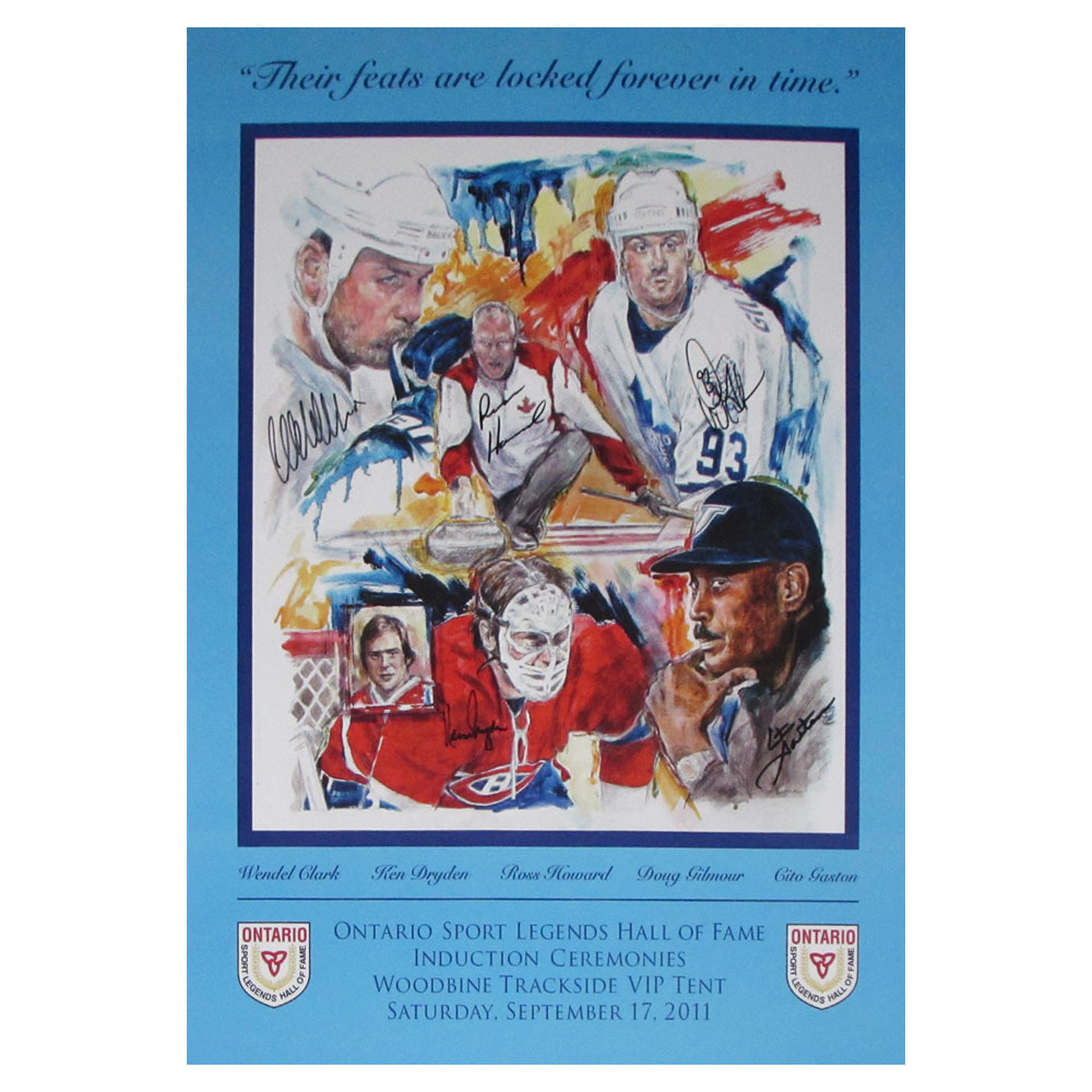 Ontario Sports Legends Hall of Fame Autographed Print - Dryden, Clark, Gilmour, Howard & Gaston