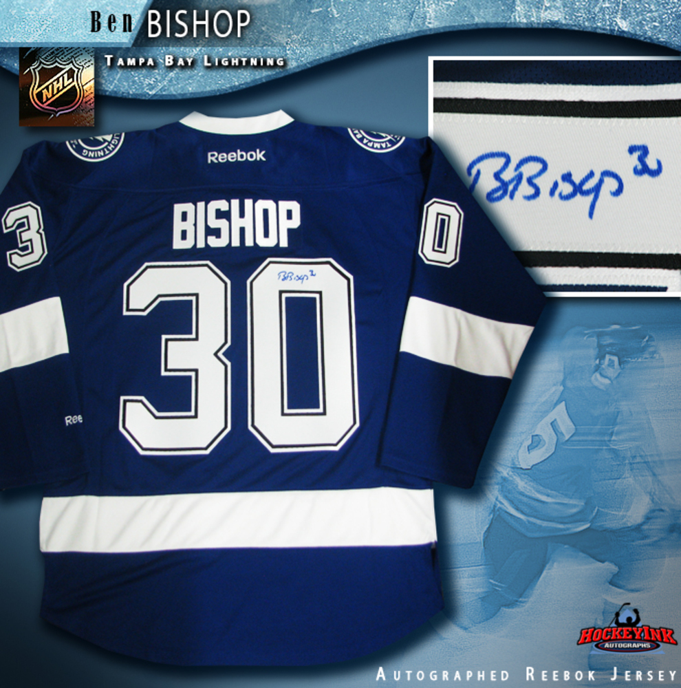 BEN BISHOP Signed Tampa Bay Lightning Blue Reebok Jersey