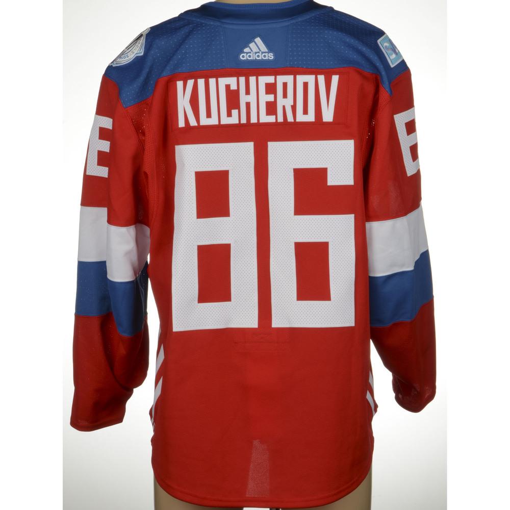 Nikita Kucherov Tampa Bay Lightning Game-Worn 2016 World Cup of Hockey Team Russia Jersey, Worn Against Team Finalnd On September 22nd