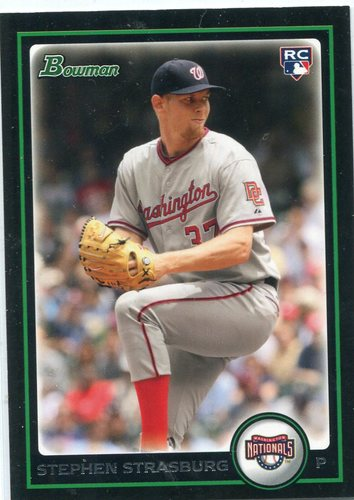 Photo of 2010 Bowman Draft #BDP1 Stephen Strasburg Rookie Card -- Nationals post-season