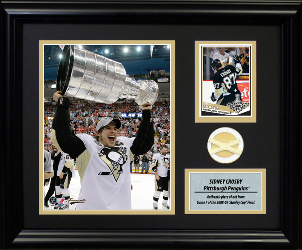 Sidney Crosby - Framed Photocard With Piece of 2009 Stanley Cup Net