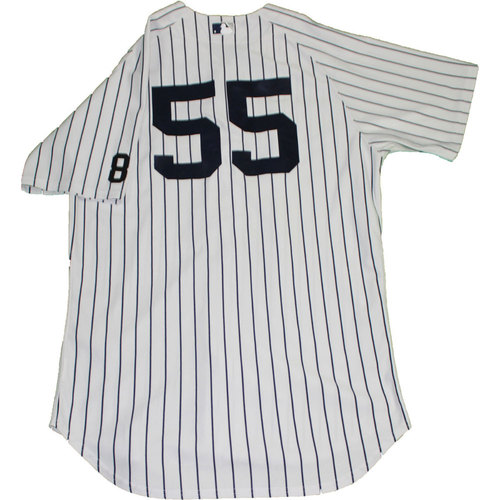 Photo of Bryan Mitchell Jersey - NY Yankees 2015 Game-Used #55 Pinstripe Jersey with Yogi Berra #8 Commemorative Patch (10/1/2015) (Size 46)
