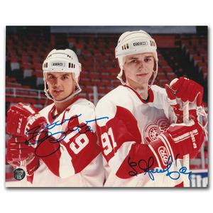 Sergei Fedorov & Steve Yzerman Autographed Detroit Red Wings 8X10 Photo