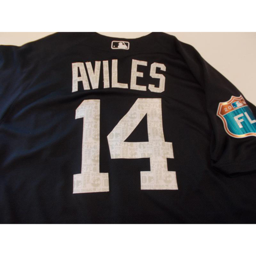 Photo of Game-Used Mike Aviles 2016 Home Spring Training Jersey