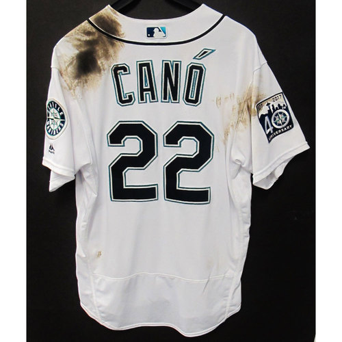 Photo of Robinson Cano White 40th Anniversary Home Game-Used Jersey - Size 48