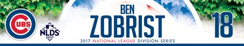 Photo of Ben Zobrist Game-Used Locker Nameplate -- NLDS Game 3 -- Nationals vs. Cubs -- 10/9/17
