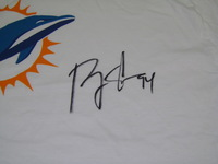 DOLPHINS - RANDY STARKS SIGNED T-SHIRT W/ DOLPHINS LOGO - SIZE L