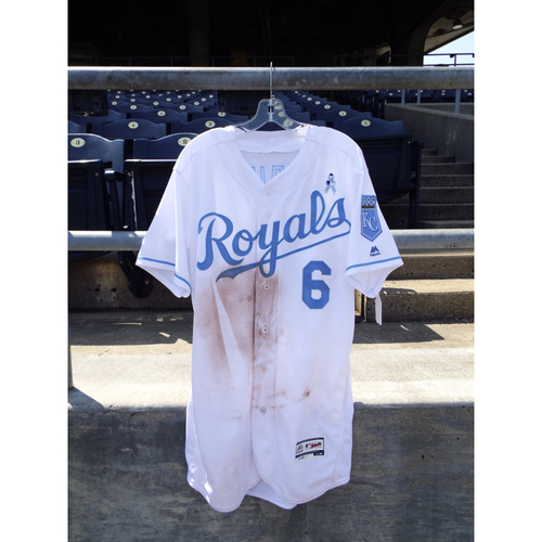 Photo of Game-Used Lorenzo Cain Father's Day Jersey (Size 46) 6/19/16