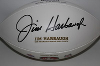 49ERS - JIM HARBAUGH SIGNED 49ERS LOGO PANEL BALL