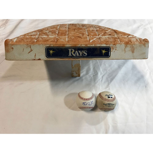 Photo of Game-Used Base, Baseball & Autographed Baseball: Mark Teixeira