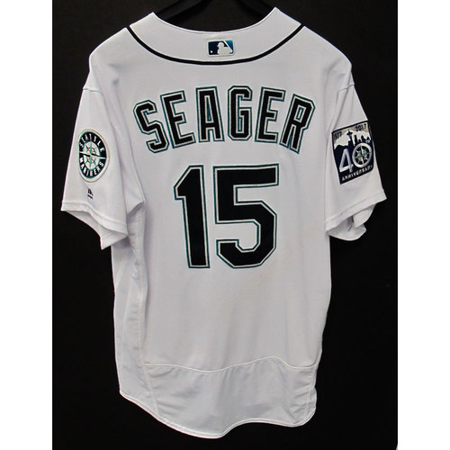 Photo of Kyle Seager White 40th Anniversary Game-Used Jersey - Size 46