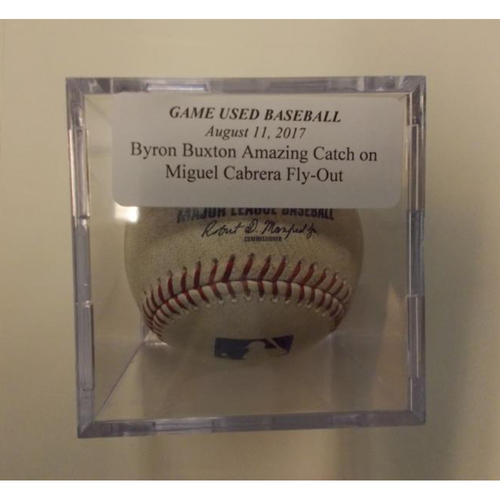 Photo of Game-Used Baseball: Byron Buxton's Amazing Catch on Miguel Cabrera Flyout