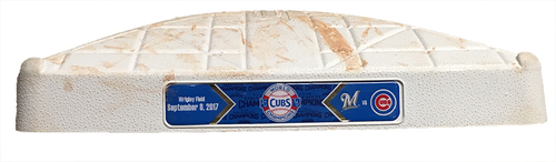 Game-Used 2nd Base -- Cubs vs. Brewers -- 9/8/17 -- Used Innings 5 through 9