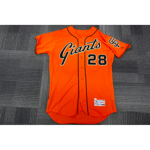 Photo of San Francisco Giants - 2017 Game-Used Orange Alt Jersey - worn by #28 Buster Posey on 9/15/17 & 9/29/17 - 3-4, 3 Doubles, 3 RBI, 2 Runs - (Size: 46)