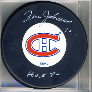 Tom Johnson Montreal Canadiens Autographed Hockey Puck w/ HOF 70 Inscription