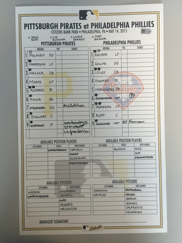 Photo of Game-Used Lineup Card from Pirates vs. Phillies on 5/14/2015