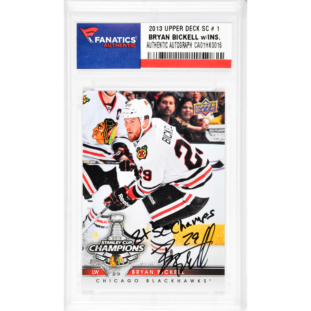 Bryan Bickell Chicago Blackhawks Autographed 2013 Upper Deck #1 Card with 2X SC Champs Inscription