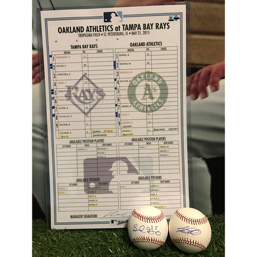 Photo of Line-Up Card & Autographed Baseballs: Tampa Bay Rays vs. Oakland Athletics