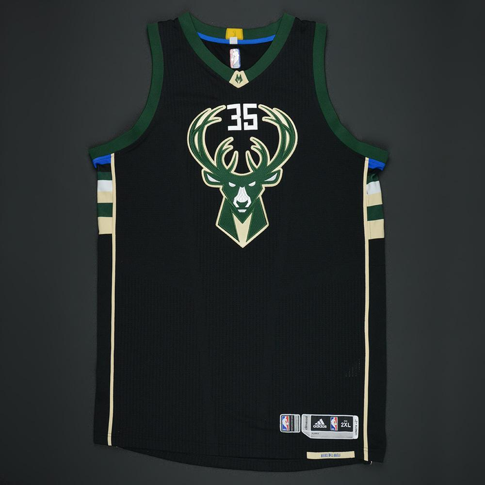 Mirza Teletovic - Milwaukee Bucks - Black Playoffs Game-Worn Jersey - 2016-17 Season