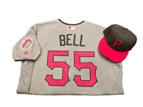 Photo of Josh Bell Game-Used Mother's Day Jersey and Hat (1 for 3, HR, 2 RBI)