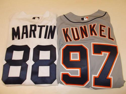 Photo of Set of 2015 Jerseys & Helmet: Jeff Kunkel Postseason, Matt Martin Fiesta Tigres & Helmet