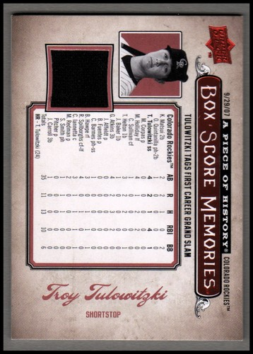 Photo of 2008 UD A Piece of History Box Score Memories Jersey Red #BSM20 Troy Tulowitzki