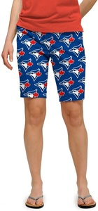 Toronto Blue Jays Ladies All Over Logo Bermuda Shorts by Loudmouth Golf