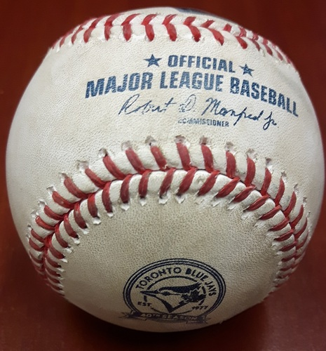 Photo of Authenticated Game Used Baseball (April 9, 2016 vs BOS) - Jose Bautista's first Home Run of the 2016 Season. (Bottom 1st Inning Rick Porcello to Jose Bautista Home Run Baseball hit into Blue Jays Bullpen)