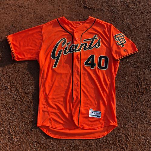 Photo of San Francisco Giants - 2017 Team-Issued Orange Alt Jersey - #40 Madison Bumgarner - (Size: 50)