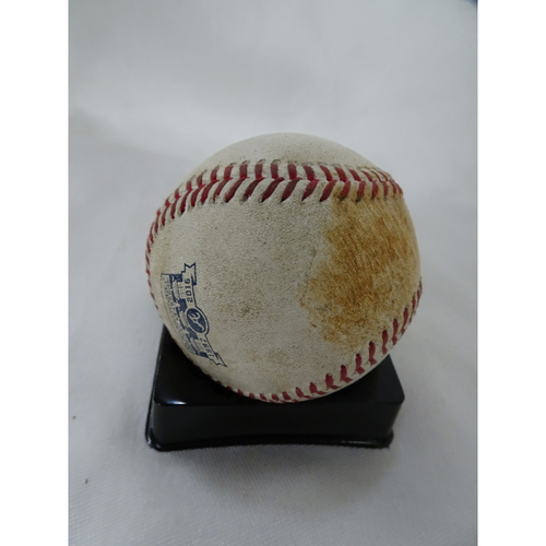 Photo of Game-Used Hit Baseball - Pitcher: Jordan Zimmerman, Batter: Dansby Swanson - Double - 10/1/2016 - Final Series at Turner Field