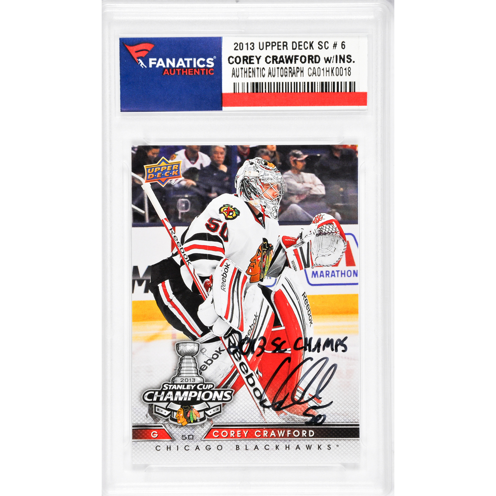 Corey Crawford Chicago Blackhawks Autographed 2013 Upper Deck #19 Card with 2013 SC Champs Inscription