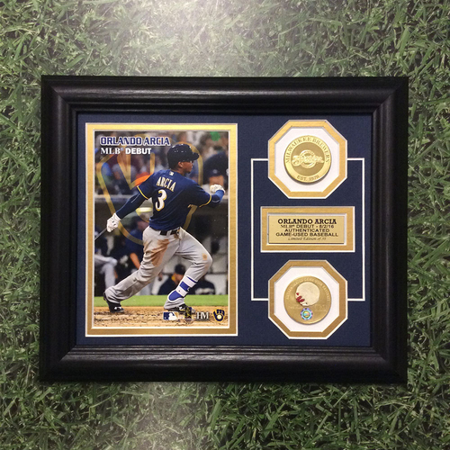 Photo of Orlando Arcia Commemorative MLB Debut Frame w/ Game-Used Baseball Swatch