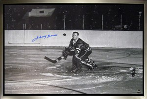 Johnny Bower Signed 20x29 Canvas Framed Leafs Catching Puck