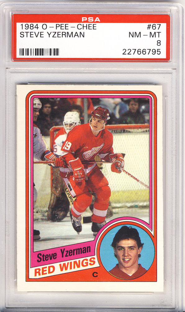 1984 OPC #67 STEVE YZERMAN Detroit Red Wings Graded Rookie Card - NM-MT PSA 8