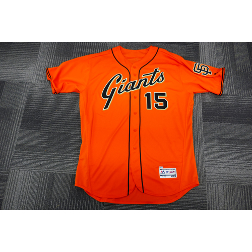 Photo of San Francisco Giants - 2017 Game-Used Orange Alt Jersey - worn by #15 Bruce Bochy on 9/29/17 - (Size: 52)