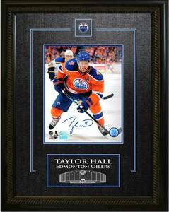 Taylor Hall - Signed & Framed 8x10 Etched Mat - Edmonton Oilers Orange Action
